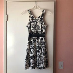 AQUA - black & white tropical dress (Size XS)